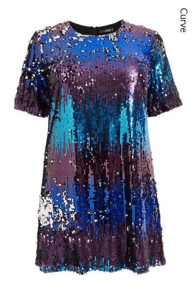 Curve Multicoloured Sequin Short Sleeve Tunic Dress
